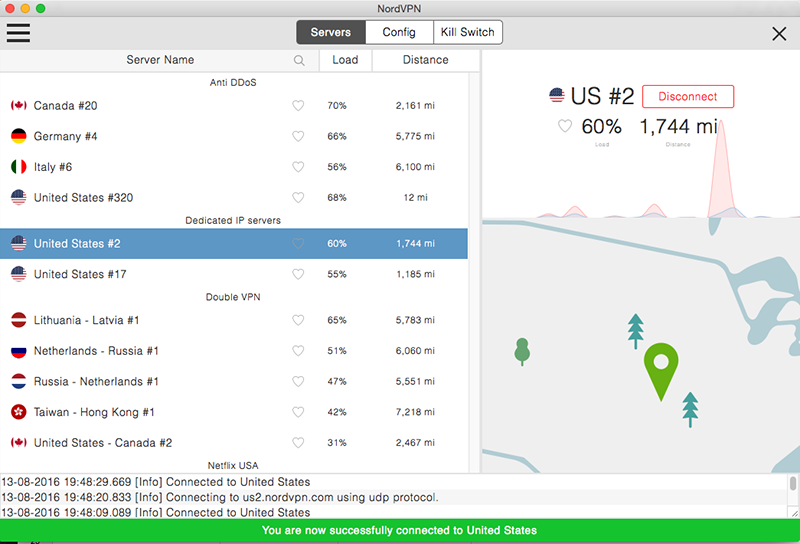 Screenshot of NordVPN VPN