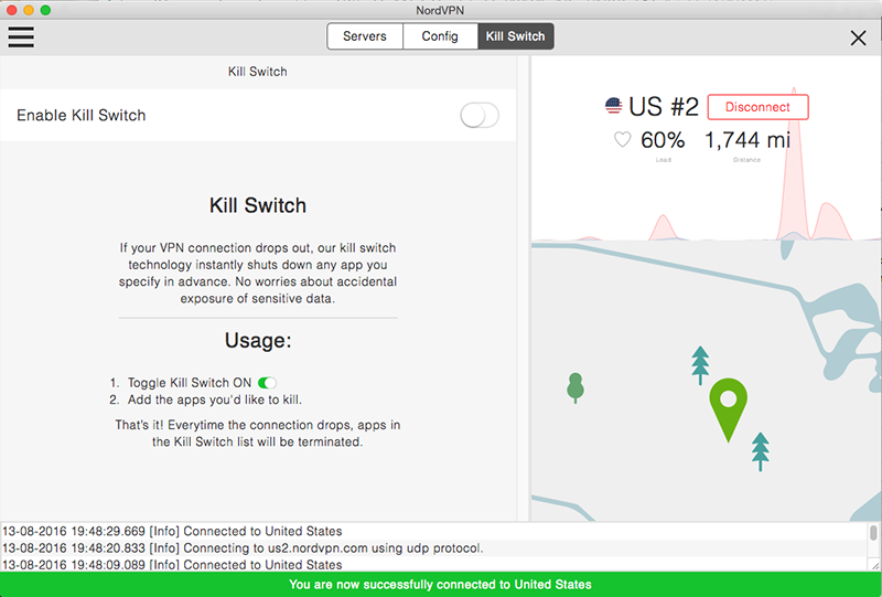 Screenshot of Kill Switch feature for NordVPN VPN