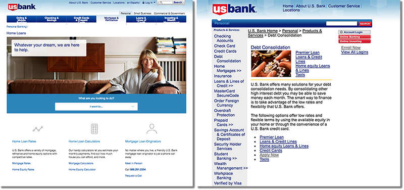 Comparison of US Bank pages