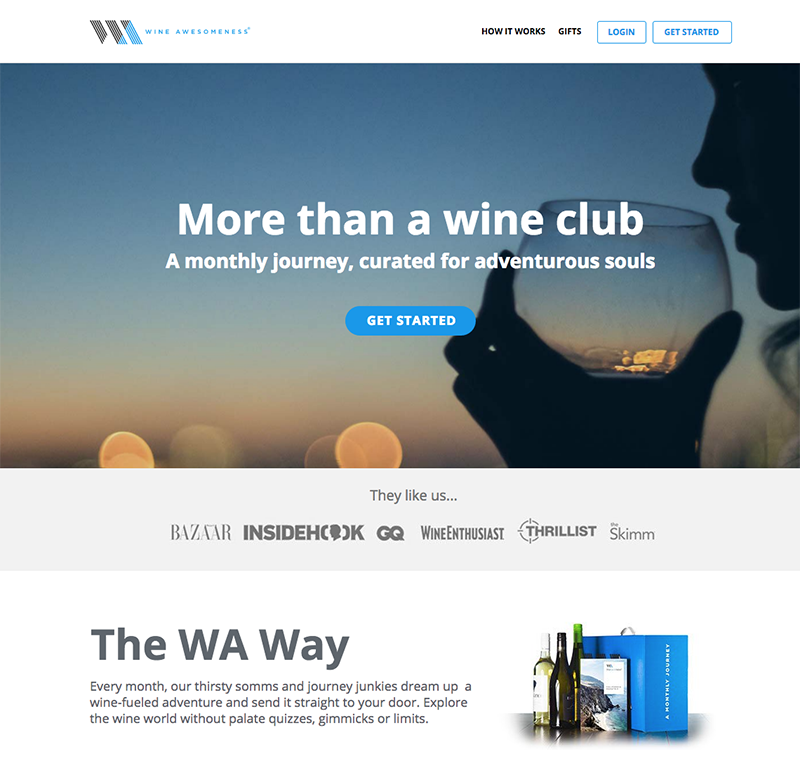 Screenshot of Wine Awesomeness Website for Wine Clubs