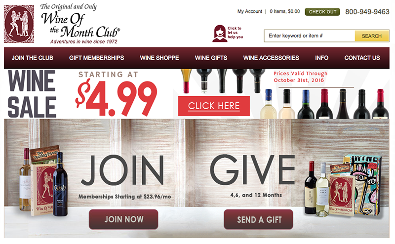 Screenshot of Wine of the Month Club site for Best Wine Clubs