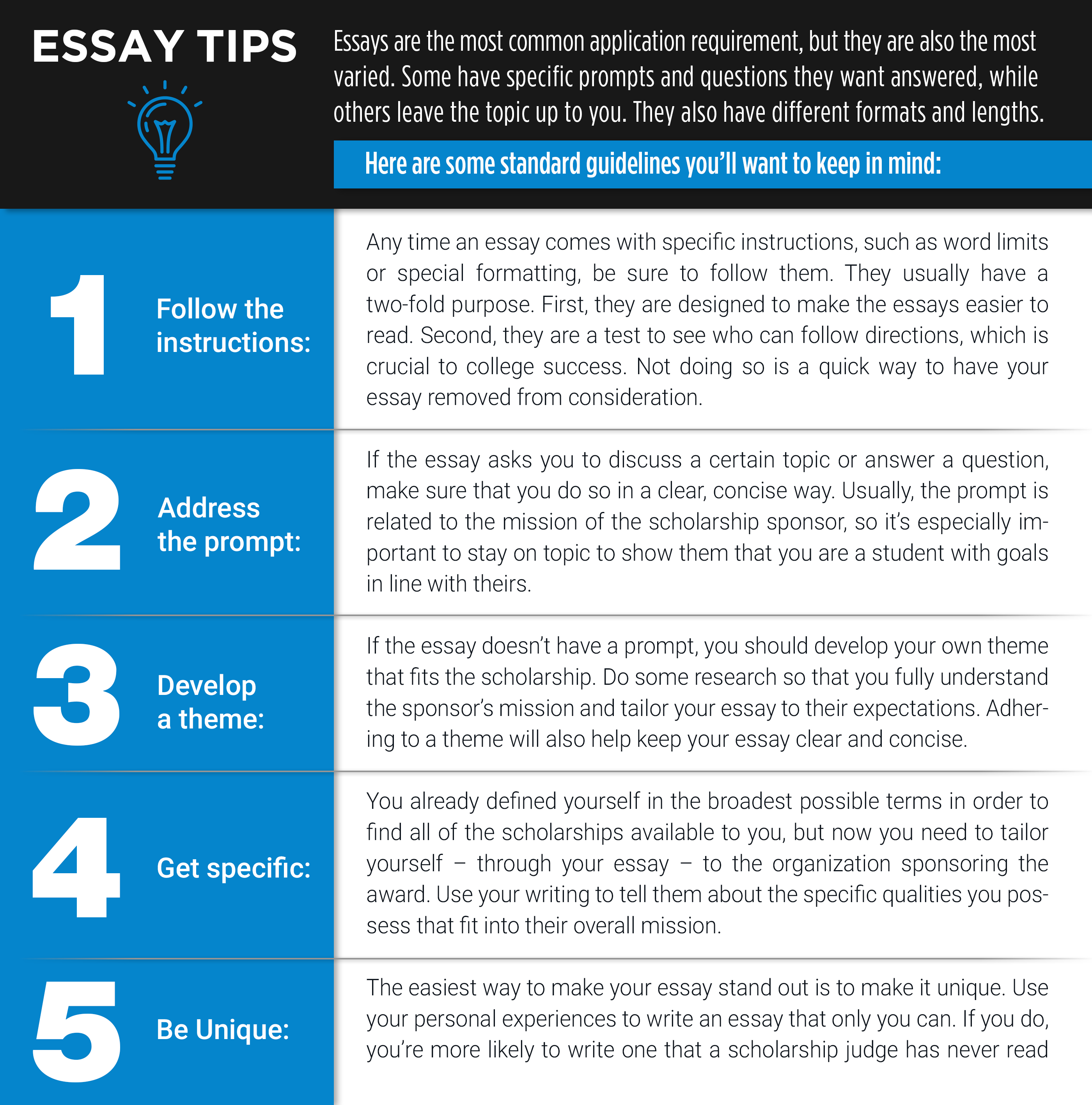 most common scholarship essay prompts Here are the 2017 flinn scholarship essay questions: shortanswer questions  please answer each question with no more than 80 characters.