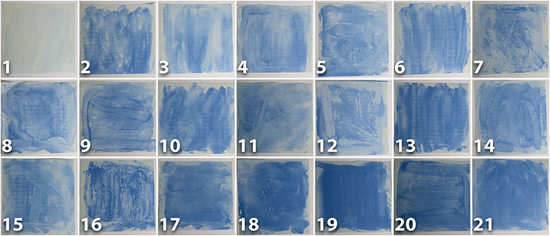 Collage of Sunscreen paper test results