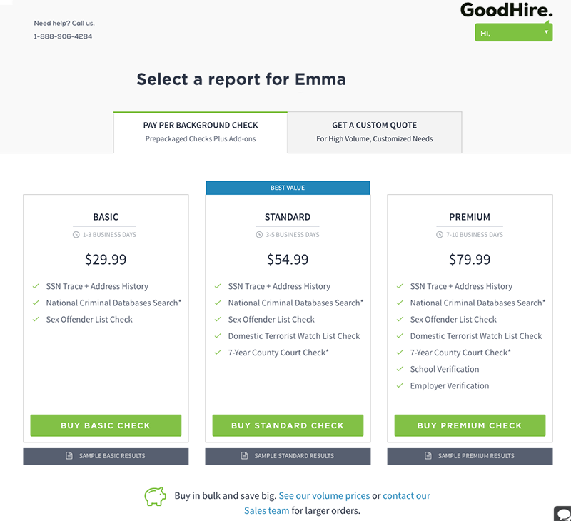 Screenshot of GoodHire Pricing Page