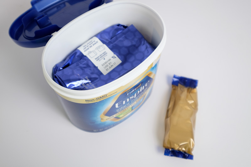Close-up of packaging for Enfamil Enspire Baby Formula