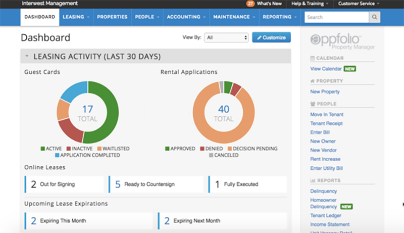 appfolio_dashboard for Property Management Software
