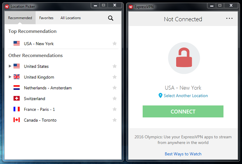 Screenshot of ExpressVPN VPN