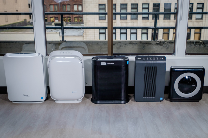 from left to right the winix u450 the ac9200wca the honeywell hpa300 the winix and the coway 4stage filtration system