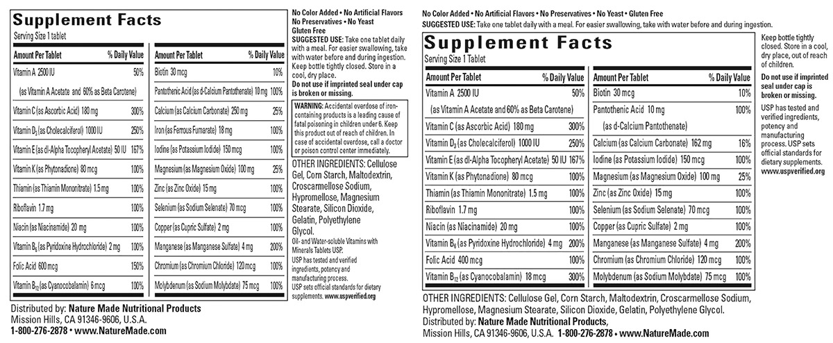 Nature Made Nutrition Labels for Multivitamin