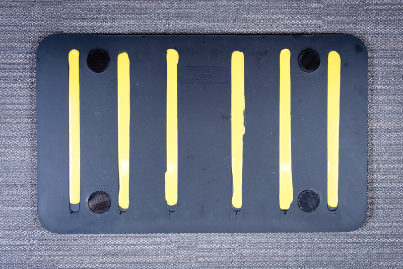 Close-up on yellow treads - Standing Desk Mat