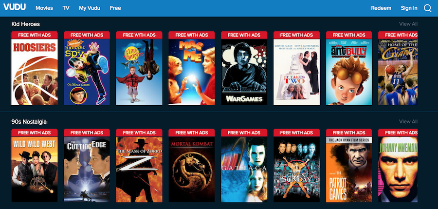 Vudu Screenshot for Free Streaming