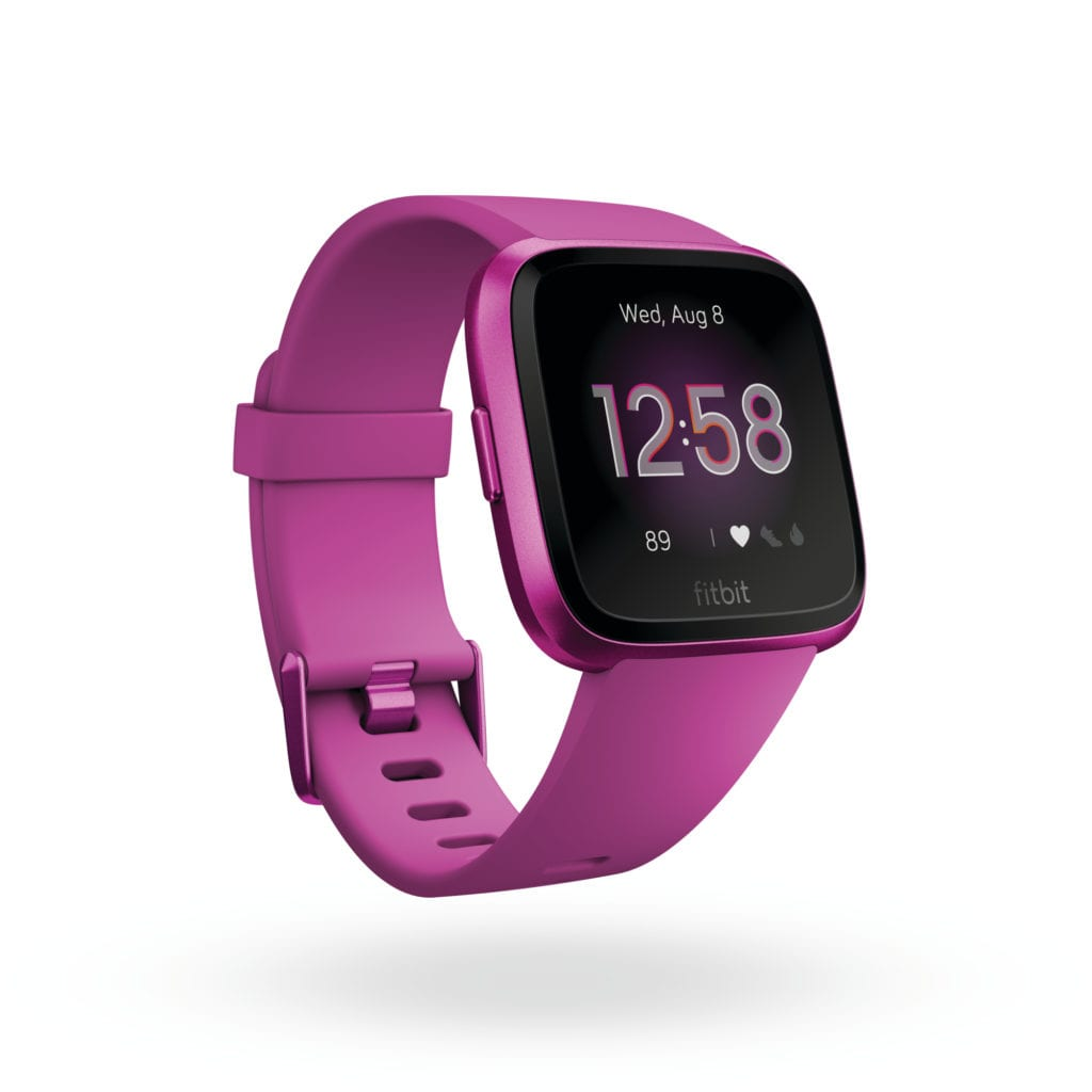 Product render of Fitbit Versa Lite Edition, 3QTR view, in Mulberry