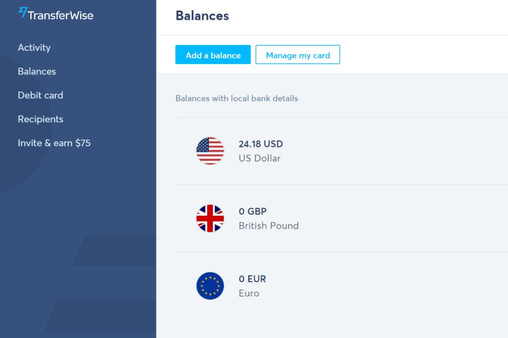 TransferWise online banking