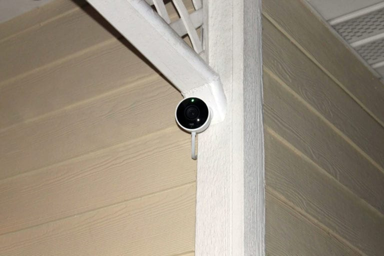 News Cam Outdoor mounted on beige siding