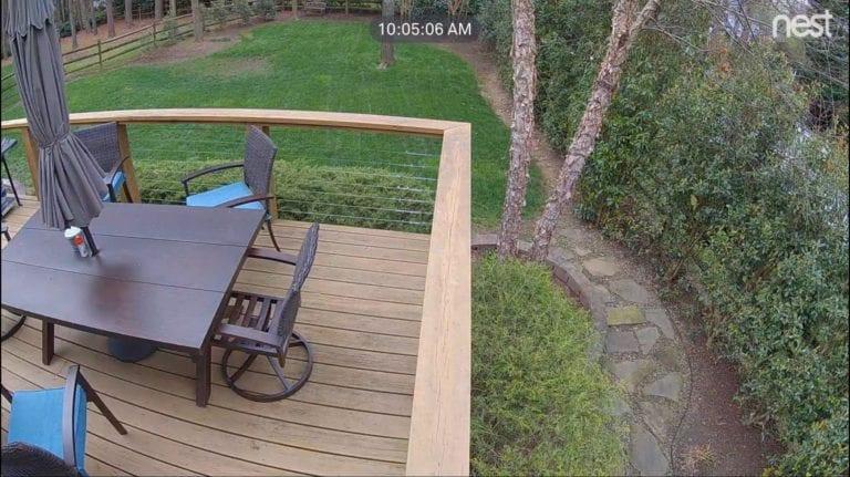 A back deck as seen by Google Nest IQ Outdoor