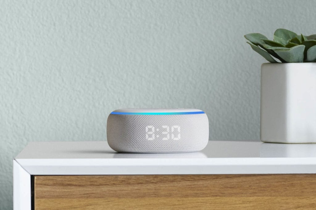 Amazon Echo Dot with Clock on sidetable 1600