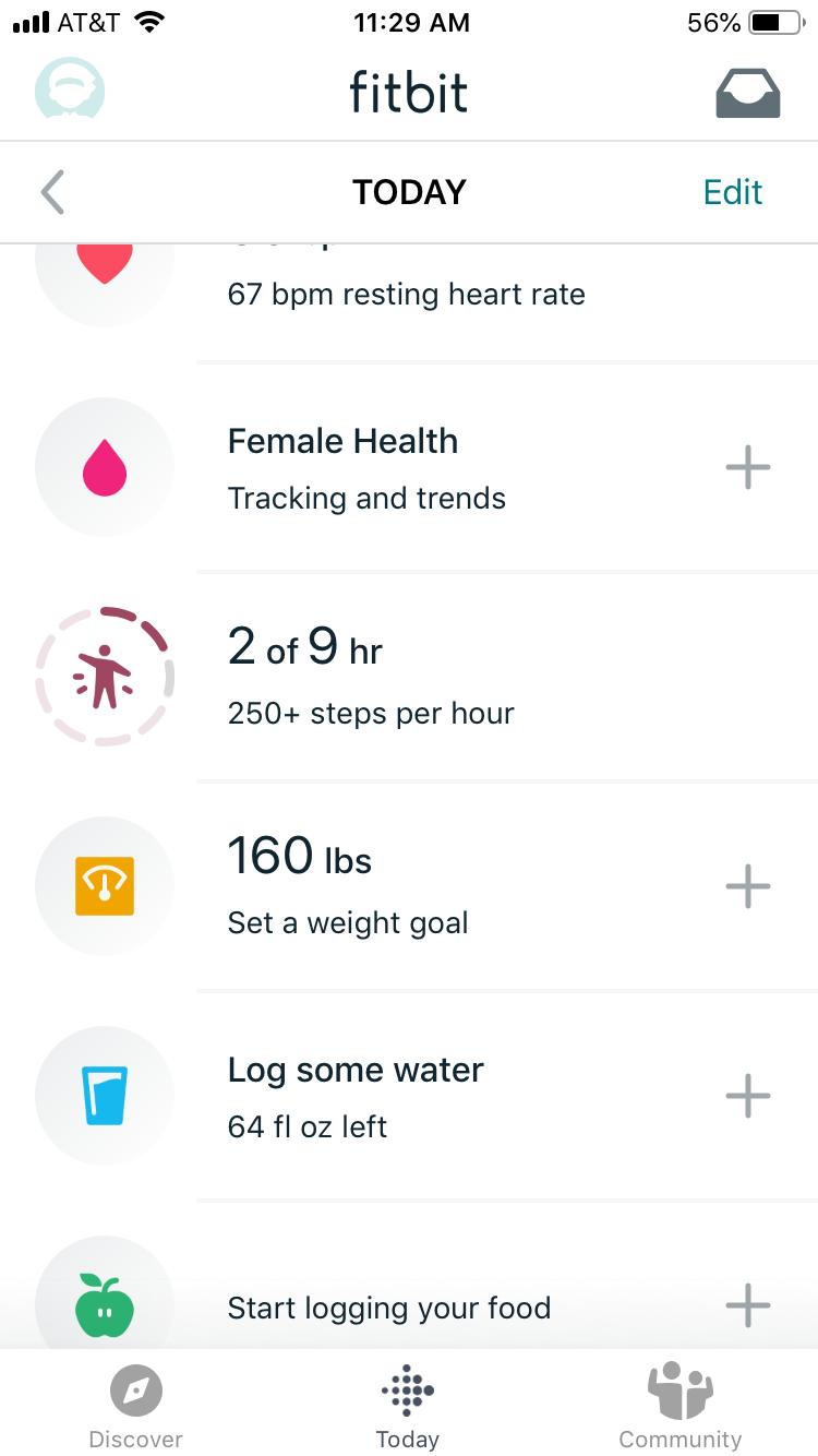 Fitbit app screen 2