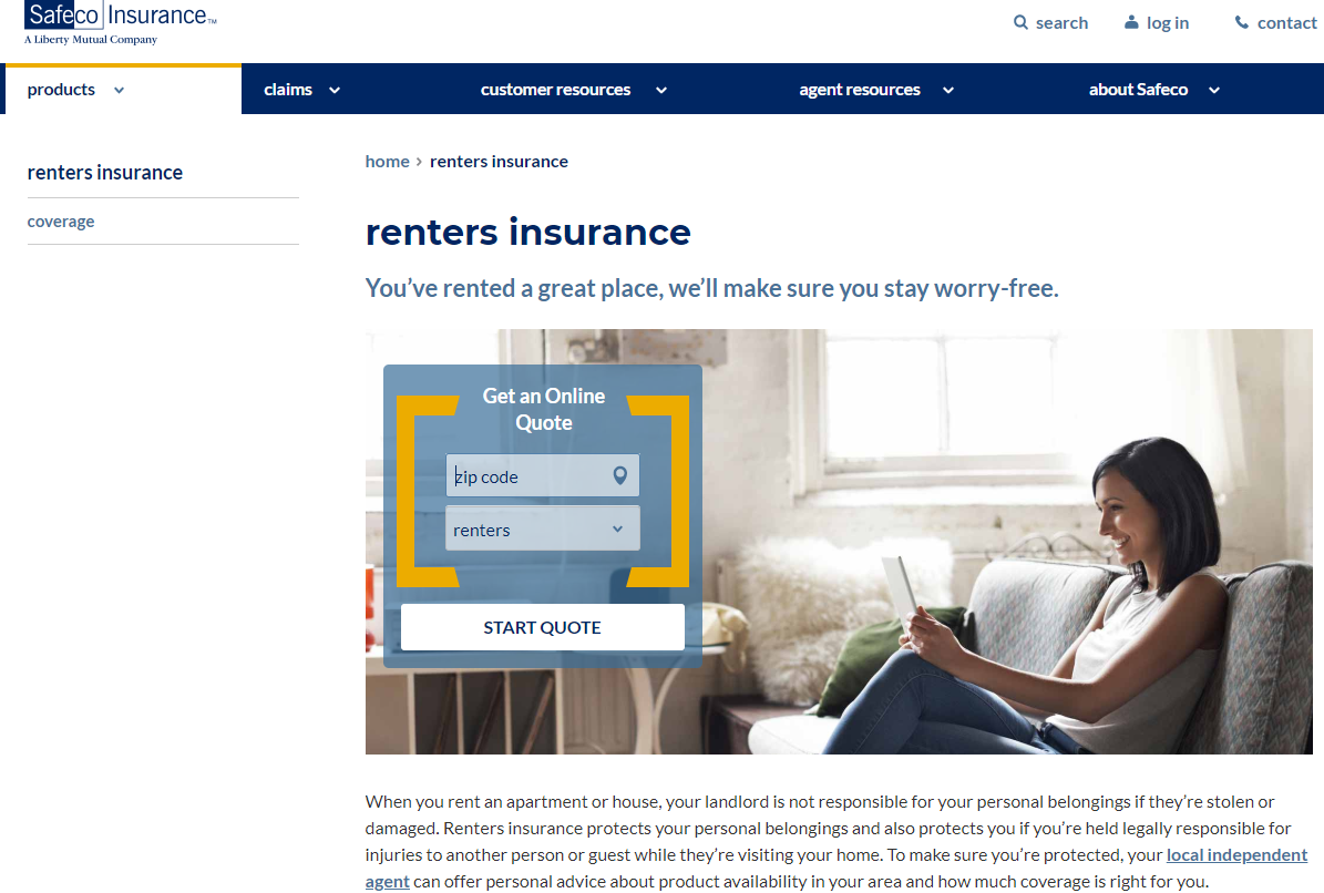 Safeco Renters Insurance Screen Capture - Woman Applying Online Via Tablet Device