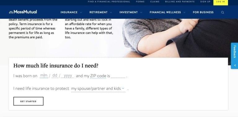 screenshot of Massmutual website