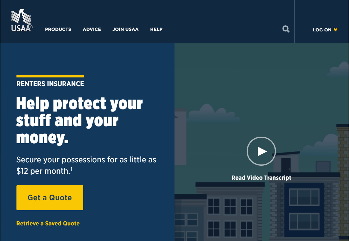 USAA Renters Insurance Screen Capture - Fun Little Vector Drawing of Skyline with Apartments