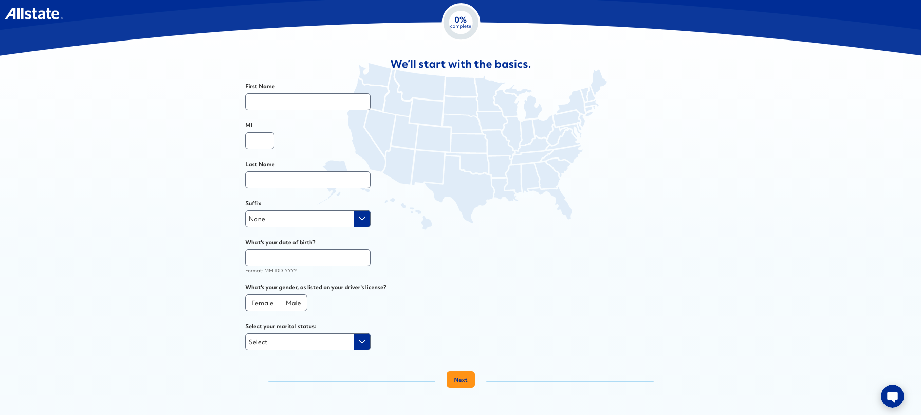 screen capture of allstate's sign-up form online showing how easy it is to navigate the process (background is a plain, featureless map of USA)
