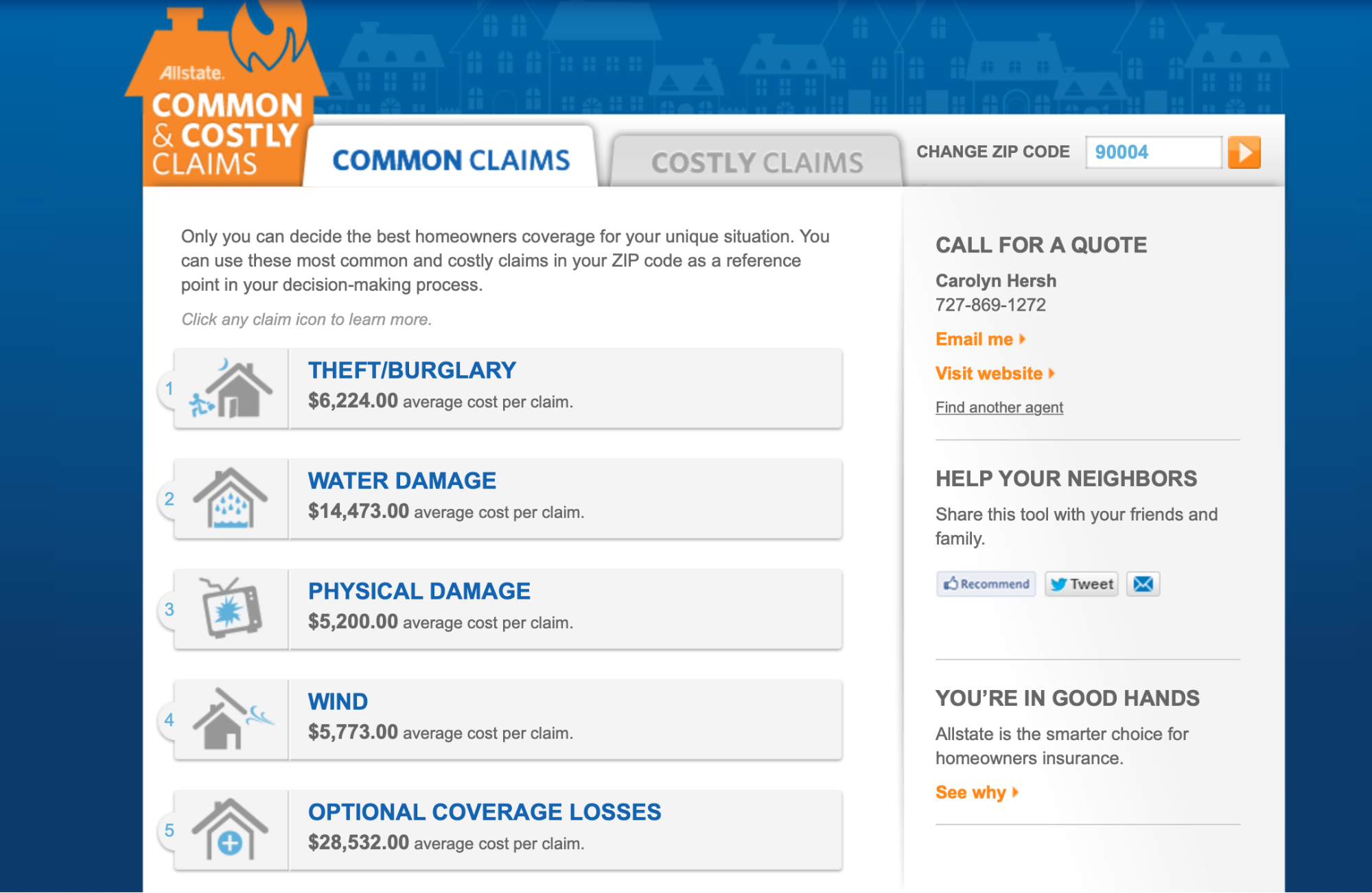 Preview image of Allstate's interactive claims tool