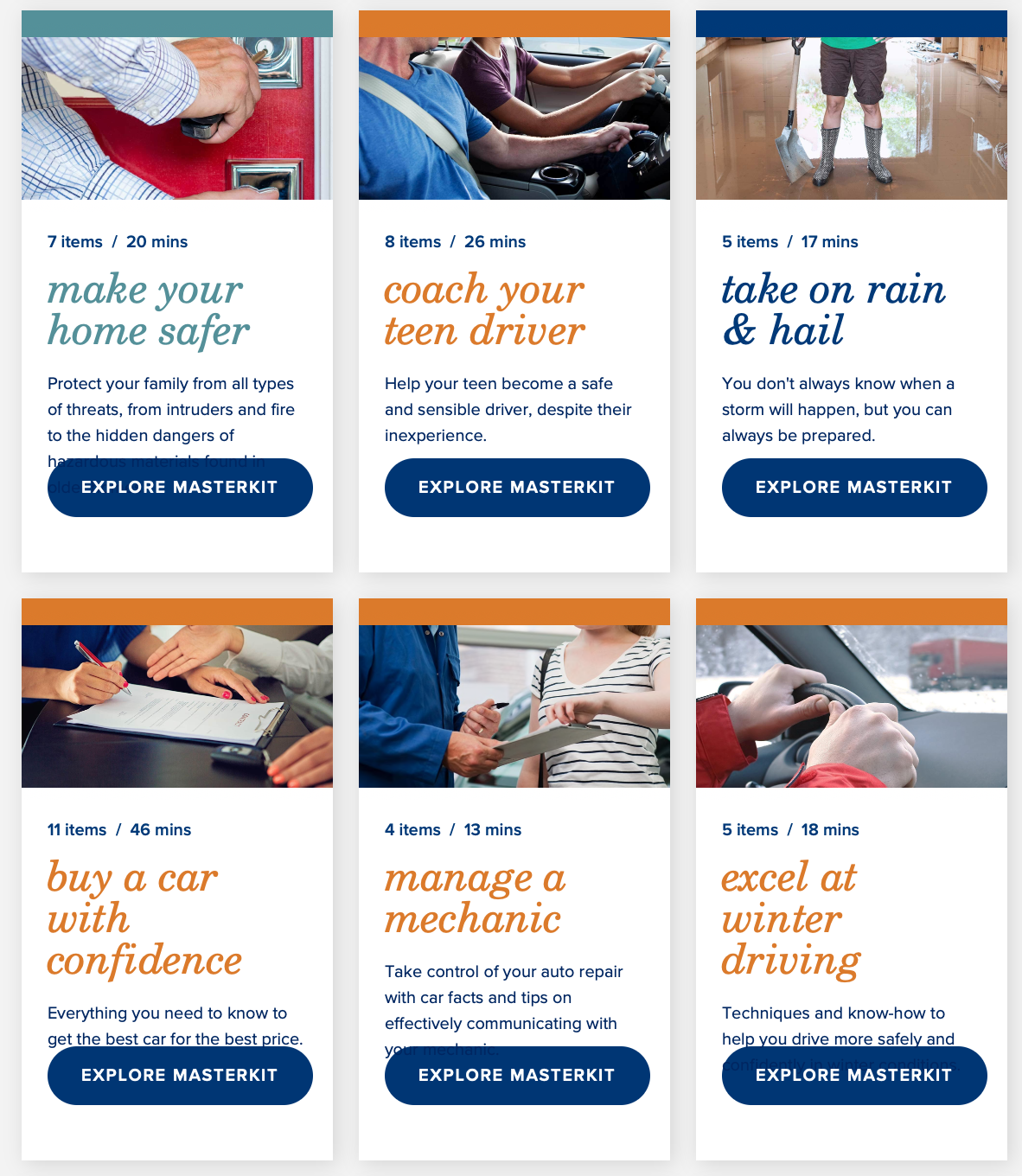 Preview of Liberty Mutual's page full of useful articles